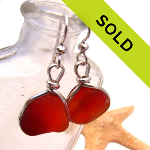 These ultra rare one of a kind sea glass earrings are no longer for sale.
