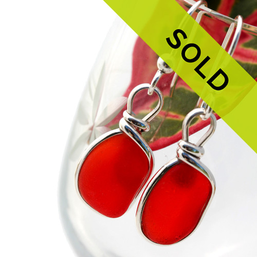 SORRY THESE RARE RED SEA GLASS EARRINGS HAVE BEEN SOLD!