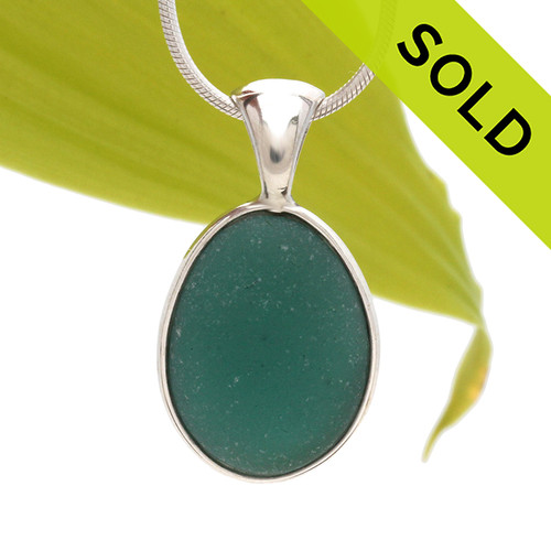 Top quality piece of long and large aqua green Genuine Sea Glass in our Deluxe Wire Bezel© setting. SOLD - Sorry This Sea Glass Necklace Pendant Is NO LONGER AVAILABLE!