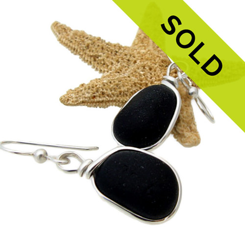 Black Beauties- Black Sea Glass Earrings In Sterling Original Wire Bezel©