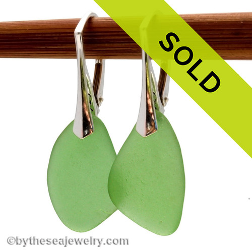 Larger Bright Green Simply Sea Glass On Silver Leverback Earrings Sorry this sea glass jewelry selection has been sold!