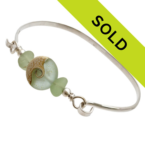 Two pieces of beach found sea glass in seafoam green on this solid sterling silver thin sea glass bangle bracelet, Sorry this sea glass jewelry selection has been sold!