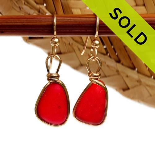 Cherry Red Genuine English Sea Glass Earrings In 14K G/F Original Wire Bezel© (GFE1629)