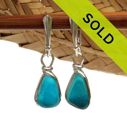 A great match in my English Multi Sea Glass Earrings in a vivid Teal or Aqua Blue set in our Original Wire Bezel© setting in silver. Sorry these sea glass earrings have been sold!