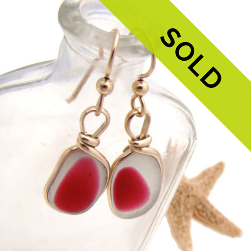 Sorry this ultra rare pair of pink Seaham Sea Glass earrings in gold bezel have been sold!