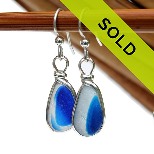 A great match in my English Multi Sea Glass Earrings in a vivid mixed Royal Blue set in our Original Wire Bezel© setting in silver. Sorry this sea glass jewelry item has been SOLD!