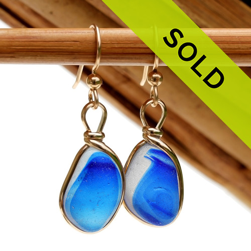 An ultra rare match of mixed electric Royal Blue English sea glass piece from Seaham England in our Original Gold Wire Bezel© sea glass earring setting. Sorry this ultra rare sea glass jewelry selection has been sold!