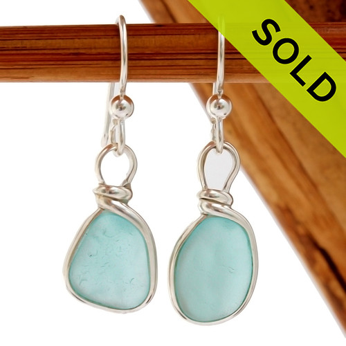 Smaller petite pieces of naturally collected Aqua Blue sea glass in our ORIGINAL Wire Bezel© setting in Silver. SOLD - These Sea Glass Earrings are NO LONGER AVAILABL