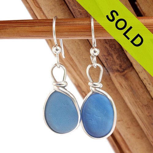 Vivid Medium Blue Sterling Seaham Sea Glass Earings Sterling Wire Bezel©