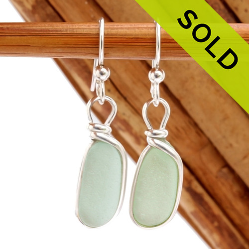 Genuine beach found oblong Seafoam Green Sea Glass Earrings in a Solid Sterling Silver Original Wire Bezel© setting. SOLD - Sorry these Sea Glass Earrings are NO LONGER AVAILABLE!