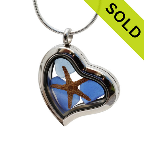 Our new heart lockets make this cobalt blue sea glass really shine! A small starfish completes the beachy look! Genuine beach found glass. Sorry this Sea Glass Jewelry selection has been SOLD!