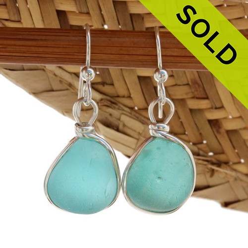 Thick Vivid Aqua Blue Genuine Sea Glass Earrings In Solid Sterling Silver Original Wire Bezel©