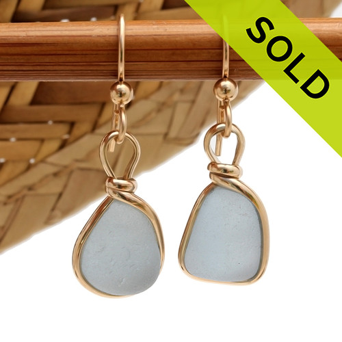 This Victorian era sea glass earring pair. A beautiful baby blue set in a gold bezel setting Unique and special! SOLD - Sorry these Ultra Rare Sea Glass Earrings are NO LONGER AVAILABLE!