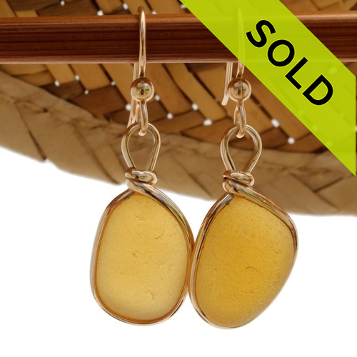 An ULTRA RARE match of electric Yellow or Gold English sea glass piece from Seaham England in our Original Gold Wire Bezel© sea glass earring settin