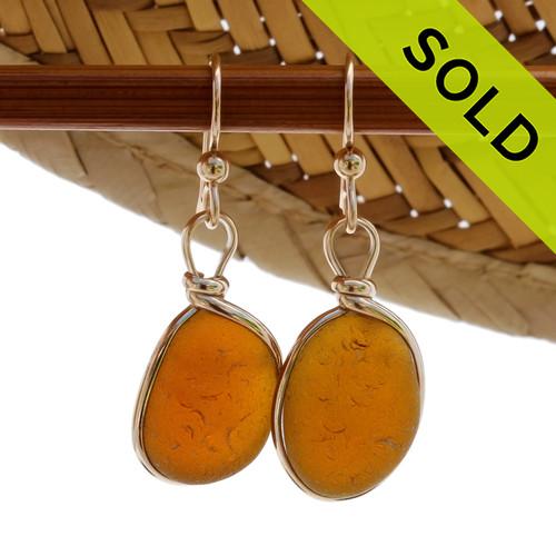 Vivid Amber Brown Sea Glass Earrings In 14K Rolled Gold Wire Bezel© Earrings