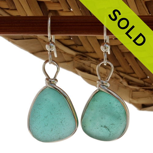 Large & Thick Vivid Aqua Sea Glass Earrings set in our signature Original Wire Bezel© setting in silver.