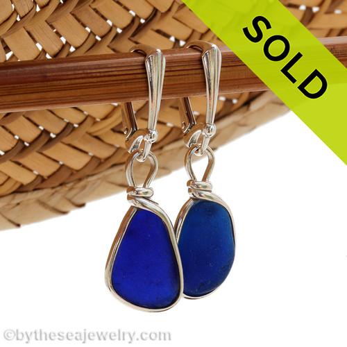 Vivid Cobalt Blue Sea Glass In Sterling Wire Bezel© Leverback Earrings