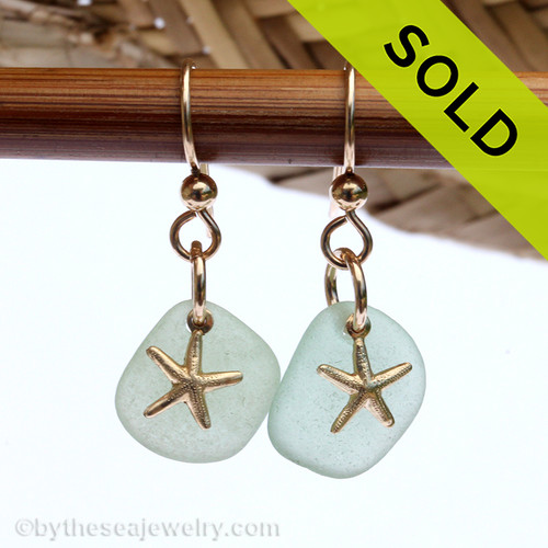Perfect pale aqua green sea glass pieces set with goldfilled starfish charms for a lovely lightweight pair of sea glass earrings.  SOLD - Sorry these Sea Glass Earrings are NO LONGER AVAILABLE!