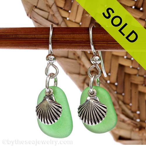 Vivid Green Sea Glass Earrings On Sterling W/ Sterling Shell Charms