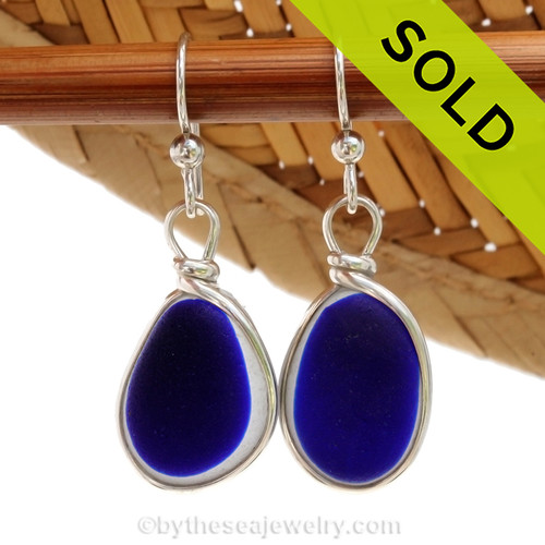 A great match in my flashed English Multi Sea Glass Earrings in a vivid mixed deep cobalt Blue set in our Original Wire Bezel© setting in silver. Sorry this Sea Glass Jewelry selection has been sold!