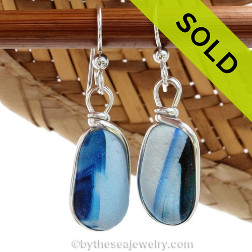 A great match in my English Multi Sea Glass Earrings in a vivid cross sectioned bright blue and white. Much sea glass from this region is flashed, meaning color is only on on side, these pieces have color running from one side to the other. ULTRA ULTRA RARE!  Sorry this sea glass jewelry selection has been sold!