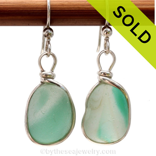 A once in a lifetime pair of English sea glass earrings. Sorry this sea glass jewelry selection has been sold!