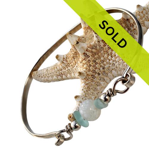 Aqua Sea Glass With Vintage Bead On Sterling Bangle