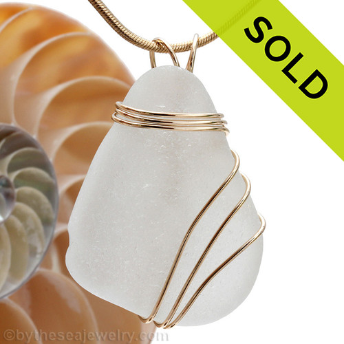 A very LARGE perfect top quality piece of Genuine Sea Glass in a triple wire wrapped gold pendant setting. SOLD - Sorry this Sea Glass Jewelry Selection is NO LONGER AVAILABLE!