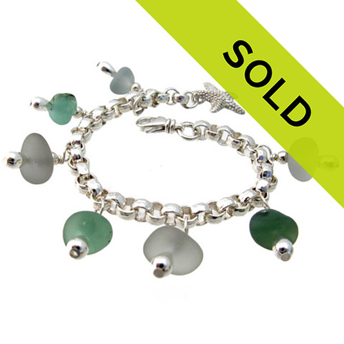 A stunning sea glass bracelet made entirely of genuine beach found glass. Sorry this sea glass jewelry selection has been sold!