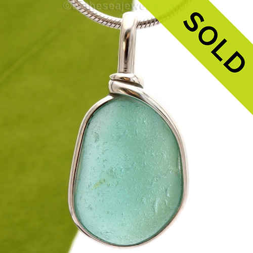 VIVID Aqua Blue Genuine Sea Glass Pendant In Sterling Original Wire Bezel©