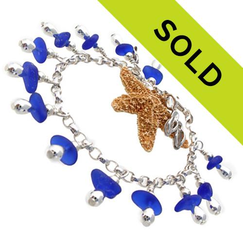Blue Explosion - Sea Glass Bracelet On Sterling
