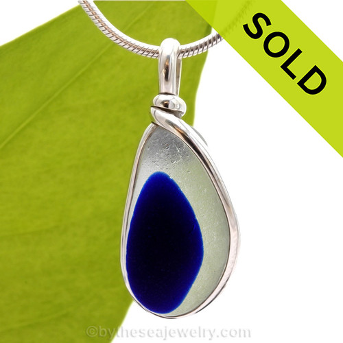 An rich vivid Cobalt Blue English Multi sea glass set for a necklace in our Original Sea Glass Bezel© in solid sterling silver setting. Sorry this sea glass jewelry piece has been sold!