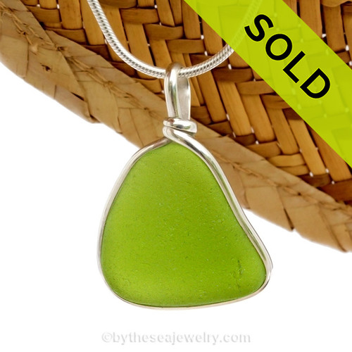 A LARGE and vivid Chartreuse or Lime Green sea glass piece set in our Original Wire Bezel© setting. Sorry this piece of Sea Glass Jewelry has been SOLD!