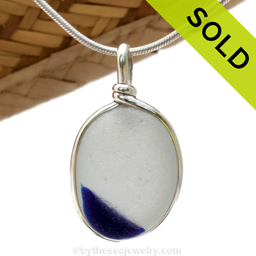 A vivid Cobalt Blue Mixed English Multi sea glass set for a necklace in our Original Sea Glass Bezel© in solid sterling silver setting. SOLD - Sorry this Sea Glass Pendant is NO LONGER AVAILABLE!