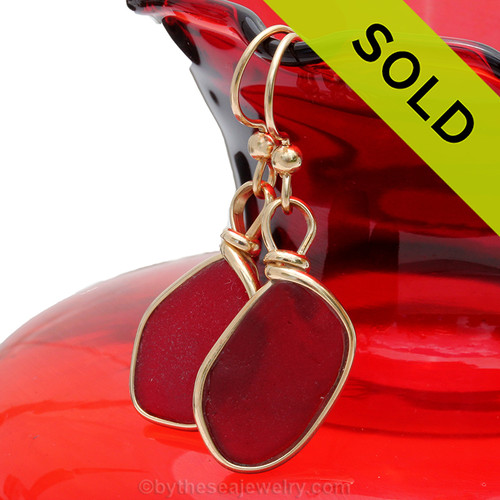 Stunning bright red sea glass earrings. Sorry this sea glass jewelry selection has been sold!