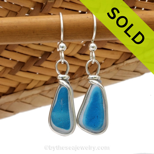 A great match in my English Multi Sea Glass Earrings in a vivid mixed Blue set in our Original Wire Bezel© setting in silver. Sorry this one of a kind sea glass jewelry item has been sold!