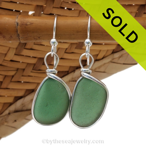 Genuine beach found Bright Jungle Green Sea Glass Earrings in a Solid Sterling Silver Original Wire Bezel© setting. SOLD - sorry this Sea Glass Jewelry selection has been SOLD!