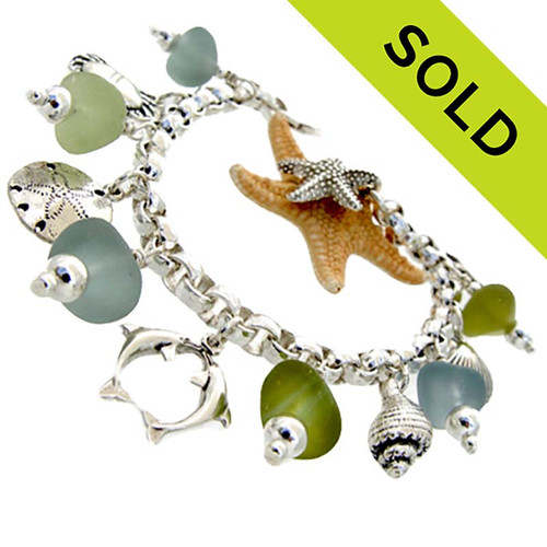 ONE OF A KIND - Ocean Storm-  Natural Sea Glass On Sterling Charm Bracelet
