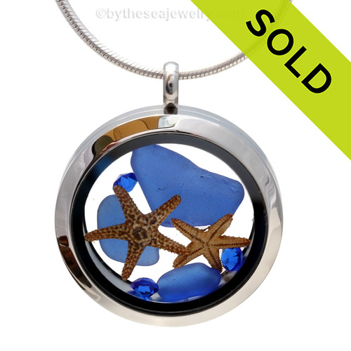 We By The Sea  - Cobalt Blue Genuine Sea Glass Locket With Starfish & Sapphire Gems