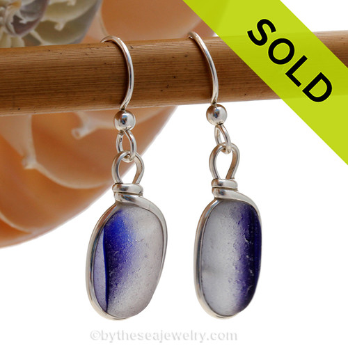 A great match in my English Multi Sea Glass Earrings in a vivid cross sectioned bright blue and white. Much sea glass from this region is flashed, meaning color is only on on side, these pieces have color running from one side to the other. ULTRA ULTRA RARE!  Sorry this Sea Glass Jewelry selection is on longer available.