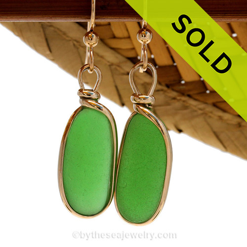 Perfect natural long thick sea glass pieces set in our in 14K G/F Original Wire Bezel© earring setting. This setting leaves the glass UNALTERED from the way it was found on the beach.  SOLD - Sorry these Sea Glass Earrings are NO LONGER AVAILABLE!