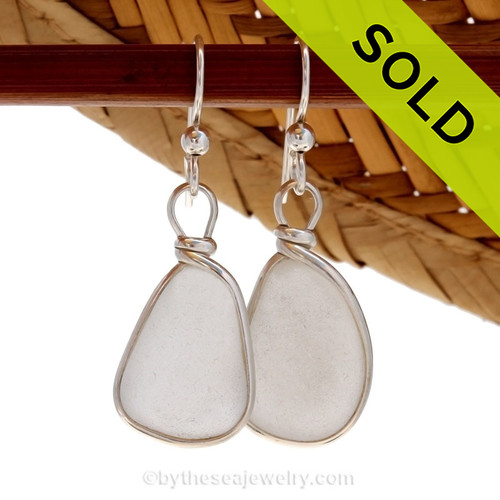 Natural UNALTERED genuine white sea glass set in our Original Wire Bezel© setting in solid sterling silver. NO LONGER AVAILABLE - Sorry this Sea Glass Jewelry item has been SOLD!