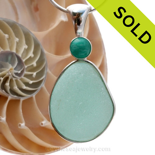 A LARGE PERFECT piece of top quality aqua English sea glass pendant set with a large Amazonite gem in a tube bezel setting. Sorry this Sea Glass Jewelry selection is NO LONGER AVAILABLE.