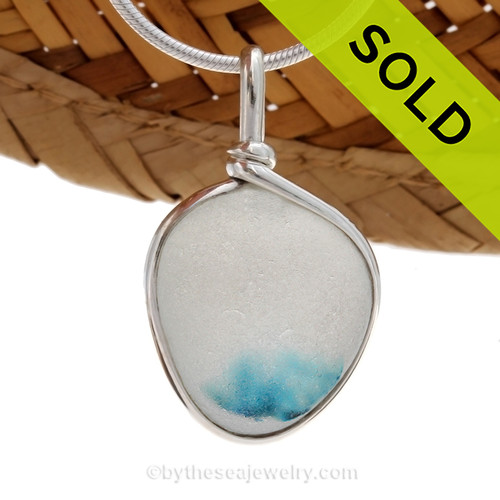 A vivid Electric Aqua English Multi sea glass set for a necklace in our Original Sea Glass Bezel© in solid sterling silver setting. Sorry this Sea Glass Jewelry selection has been SOLD!