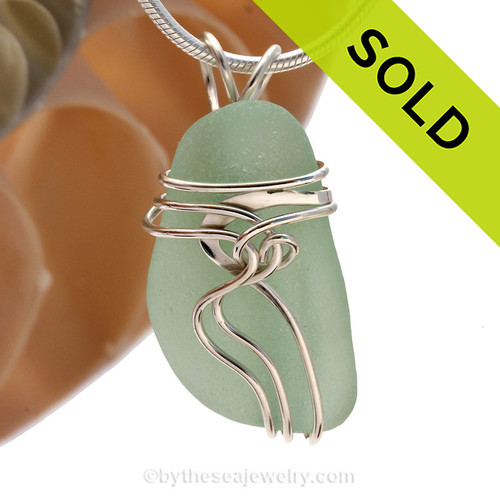 Aqua Green Genuine Sea Glass Sterling Squiggles© Setting Necklace Pendant