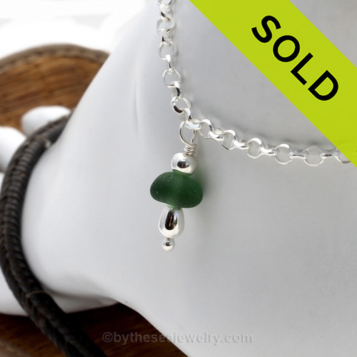 Simple sea glass ankle bracelet in silver. A great piece of sea glass jewelry for any time of year. SOLD - Sorry This Sea Glass Jewelry Selection Is NO LONGER AVAILABLE!
