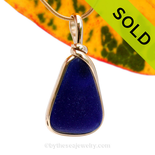 A P-E-R-F-E-C-T midnight blue Genuine Sea Glass pendant set in our 14K Goldfilled Original Wire Bezel. SOLD - Sorry This Sea Glass Jewerly Selection Is NO LONGER AVAILABLE!