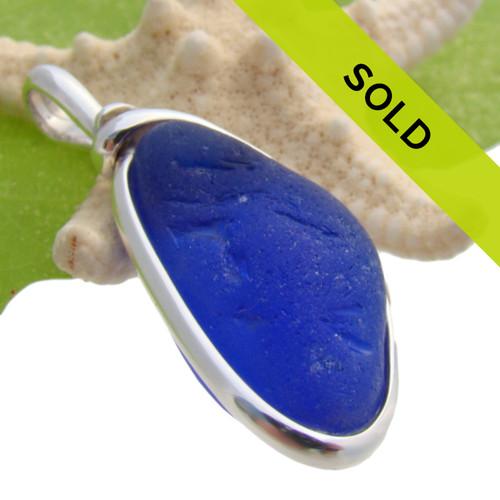 Deep Sea Blue -Cobalt Blue Sea Glass In Sterling Wire Bezel©