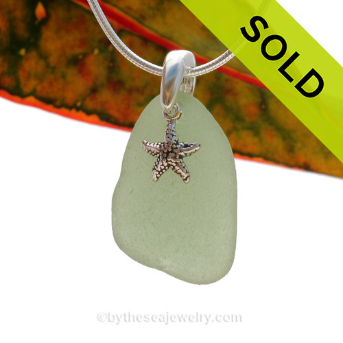 A nice piece of sea green sea glass is combined with a solid sterling starfish and presented on an 18 Inch solid sterling snake necklace chain. Sorry this Sea Glass Jewelry selection has been SOLD!