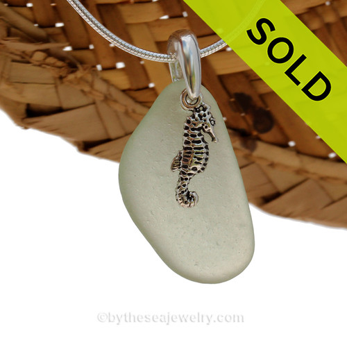 A perfect piece of natural beach found seafoam green sea glass is combined with a solid sea horse and presented on an 18 Inch solid sterling snake chain. SOLD - Sorry This Sea Glass Jewerly Selection Is NO LONGER AVAILABLE!